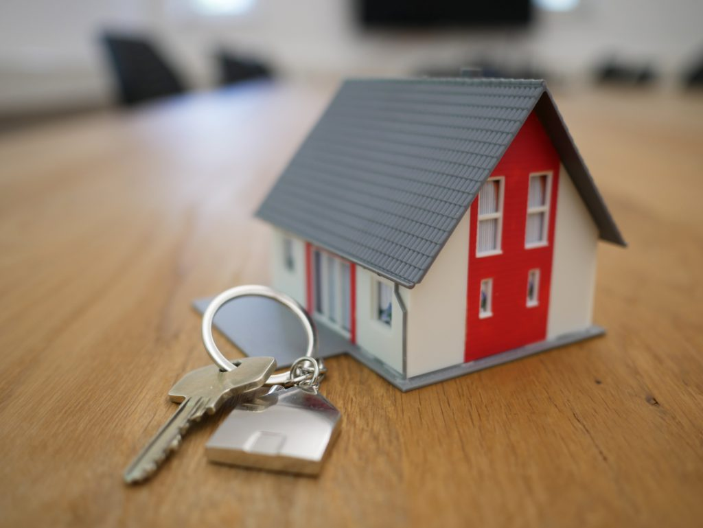 Showing a house and keys to outline property services